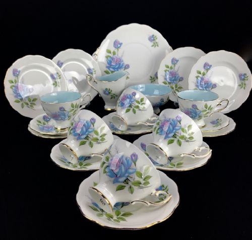 Royal Standard Fascination Tea Set For 6 / Blue Floral Rose / Vintage / Trio Set